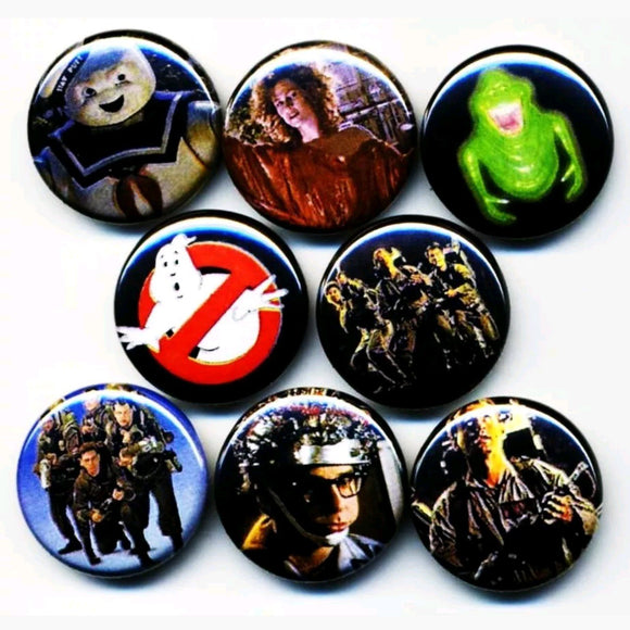 1 inch Ghostbusters set of 8 buttons badge pins