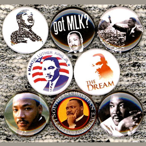 1 inch mlk set of 8 buttons badge pins