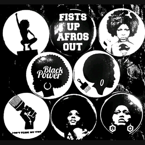 1 inch black power set of 8 buttons badge pins