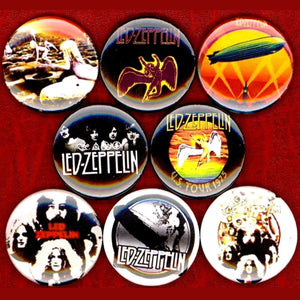 1 inch led zeppelin set of 8 buttons badge pins
