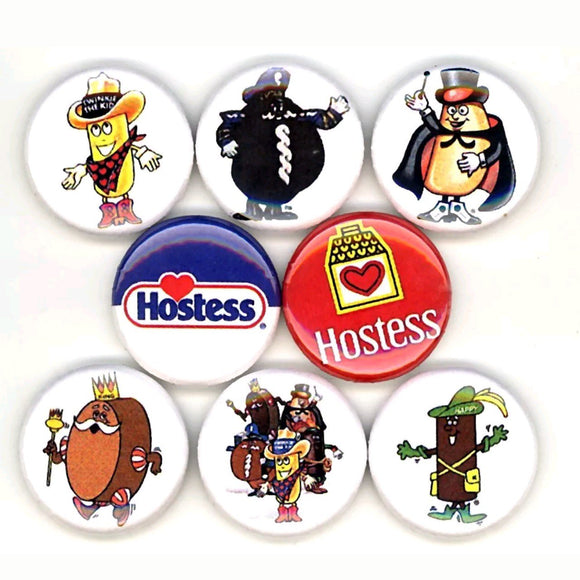 1 inch hostess set of 8 buttons badge pins