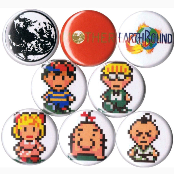 1 inch earth bound set of 8 buttons badge pins