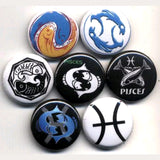 1 inch set of 7 pisces buttons badges pins