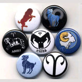 1 inch set of 7 aries buttons badges pins