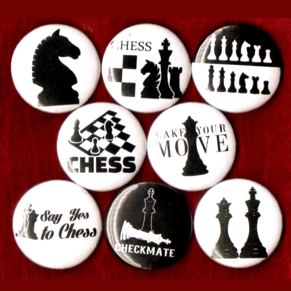 1 inch chess set of 8 buttons badge pins