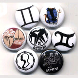 1 inch set of 7 Gemini buttons badges pins
