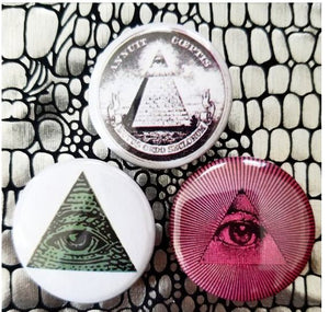 1.25 inch Illuminati set of 3 pins