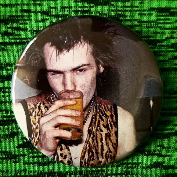2.25 inch sid vicious and oj button badge pin
