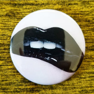 2.25 inch black lipstick lips button badge pin