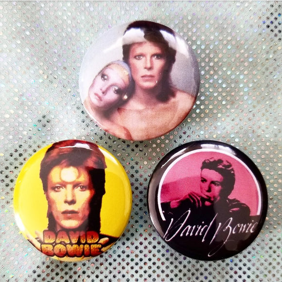 1.25 inch David Bowie set of 3 pins