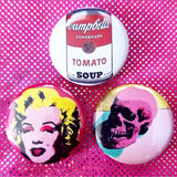 1.25 inch Andy warhol set of 3 pins