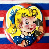 2.25 inch blonde girl button badge pin