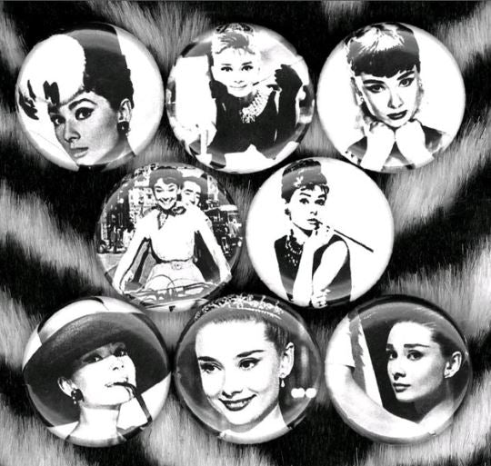 1 inch Audrey Hepburn set of 8 buttons badge pins