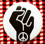 2.25 inch Peace Power Fist button badge pin