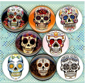1 inch Sugar Skull set of 8 buttons badge pins