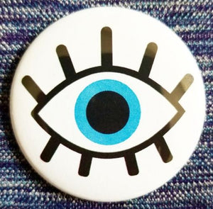 2.25 inch Evil Eye button badge pin