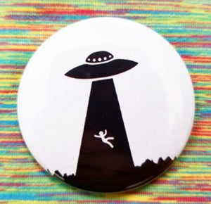 2.25 inch UFO abduction button badge pin