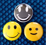1.25 inch set of 3 Smiley Face pins
