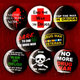 1 inch war on drugs set of 8 buttons badge pins