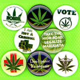 1 inch weed set of 8 buttons badge pins