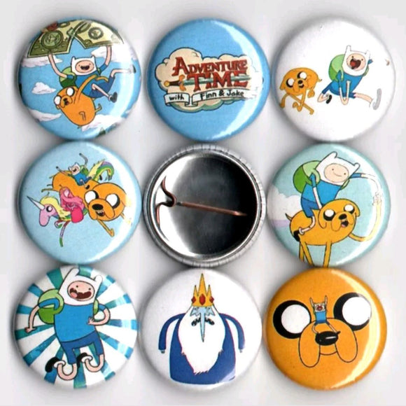1 inch adventure time set of 8 buttons badge pins