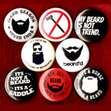 1 inch beard set of 8 buttons badge pins