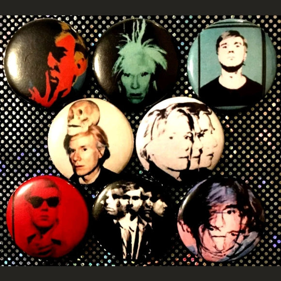 1 inch Andy Warhol Self Portraits set of 8 buttons badge pins