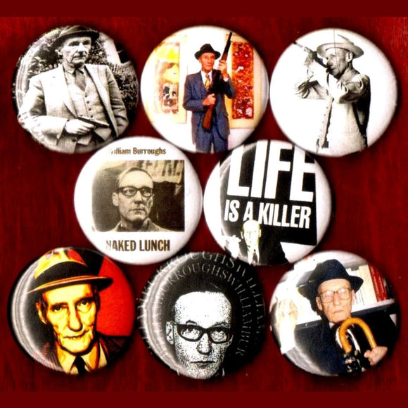 1 inch william s Burroughs set of 8 buttons badge pins