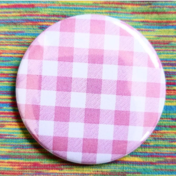 2.25 inch pink gingham button badge pin