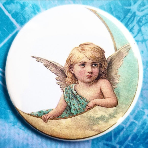 Angel on the moon button badge pin