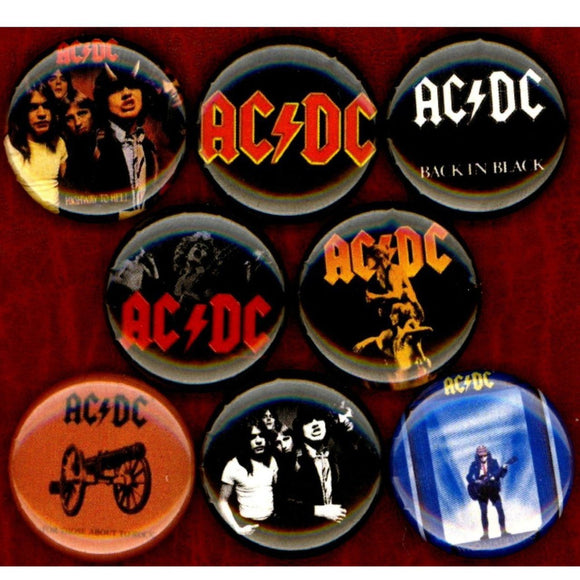 1 inch ac/dc set of 8 buttons badge pins