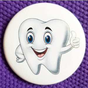 2.25 inch tooth button badge pin