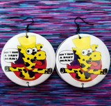 2.25 inch Don't have a Bart man cow large round earrings