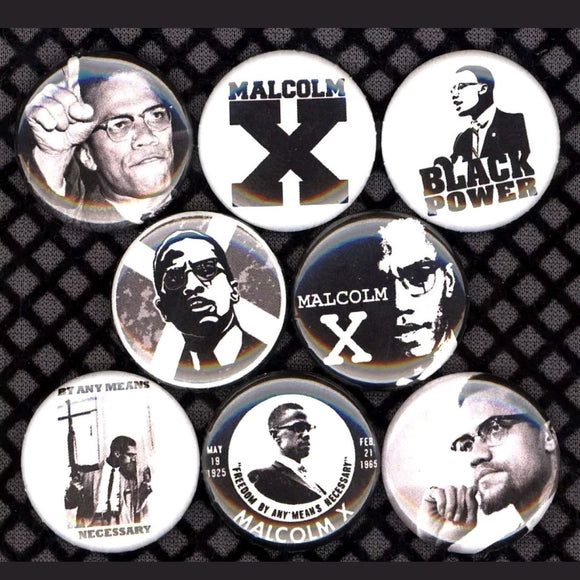 1 inch malcolm x set of 8 buttons badge pins