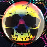 2.25 inch Rainbow Skull button badge pin
