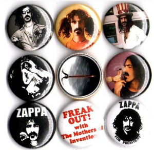 1 inch  set of 8 Frank Zappa buttons badge pins