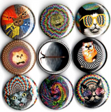 1 inch set of 8 Psychedelic cats button badge pin back pins