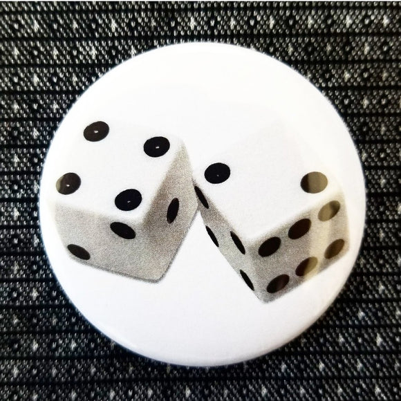 Dice button badge pin