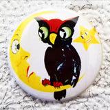 2.25 inch moon and owl button badge pin
