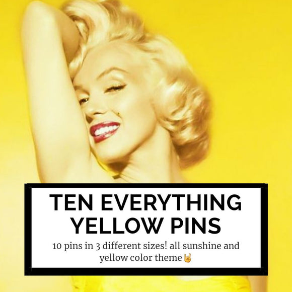 10 everything yellow mystery pins