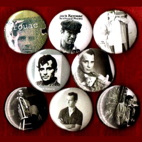 1 inch jack Kerouac set of 8 buttons badge pins