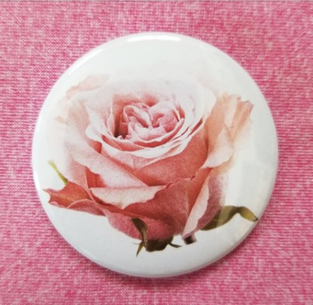 2.25 inch Pink Rose button badge pin