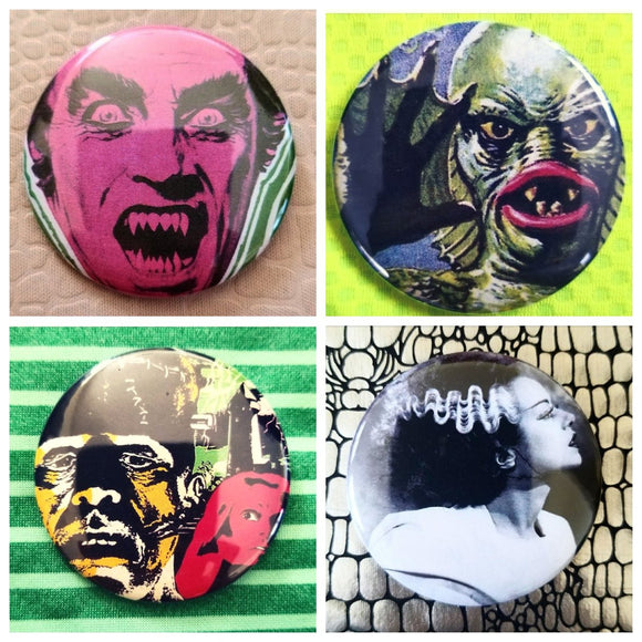 Horror monster set of 4 new buttons pin badge
