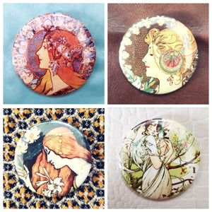 Art nouveau painting set of 4 new buttons pin badges