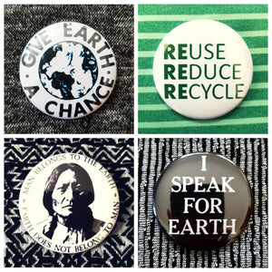 Save the planet global warming recycle set of 4 new buttons pin badges #2