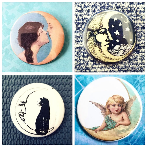 Crescent moon set of 4 new buttons pin badges