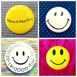 Smile set of 4 new buttons pin badges