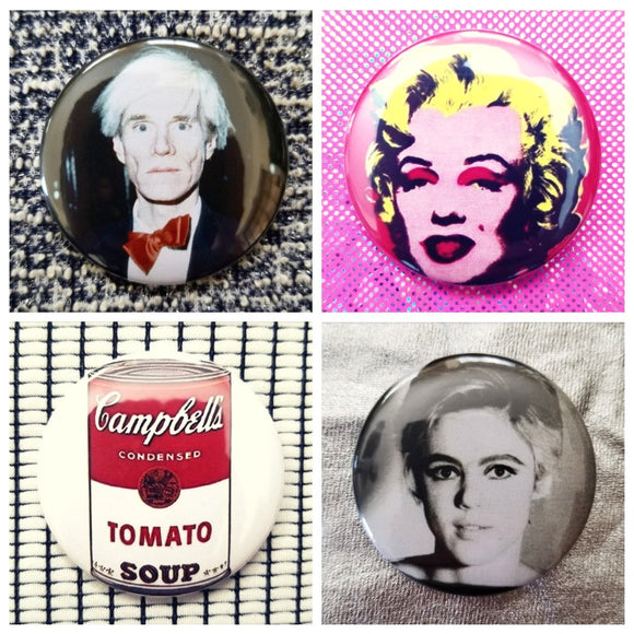Andy Warhol set of 4 new buttons pin badges