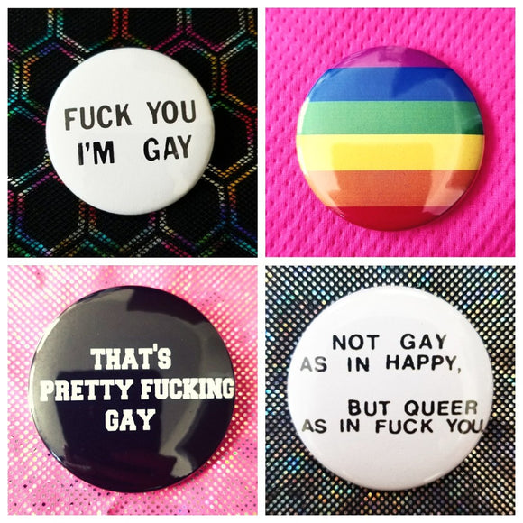 Gay pride lesbian rainbow LGBT LGBTQ queer set of 4 new buttons pin badges