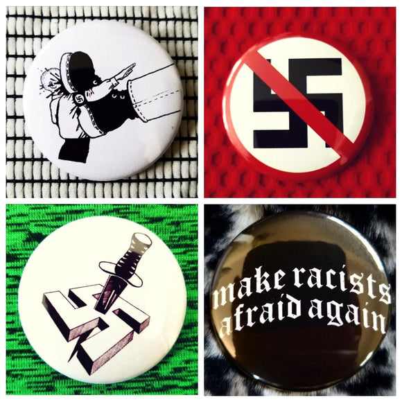 Antifa anti fascist protest set of 4 new buttons pin badges